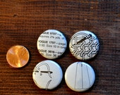 "Set of 4 sewing themed MAGNET OR PIN 1"" inch button badges, handmade new with real vintage art and gift card"