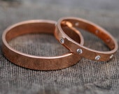 Recycled Gold Wedding Bands- 14k Gold Custom Made His and Hers Wedding Rings with Flush Set Diamonds