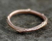 14k Gold Branch Ring- Twig Band, Custom Made Wedding or Engagement Ring in Rose, Yellow, or White Gold