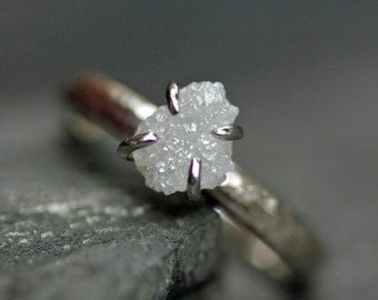 Prong-Set Rough Large Diamond Engagement Ring in 18k White or Yellow Gold- Size D Diamonds