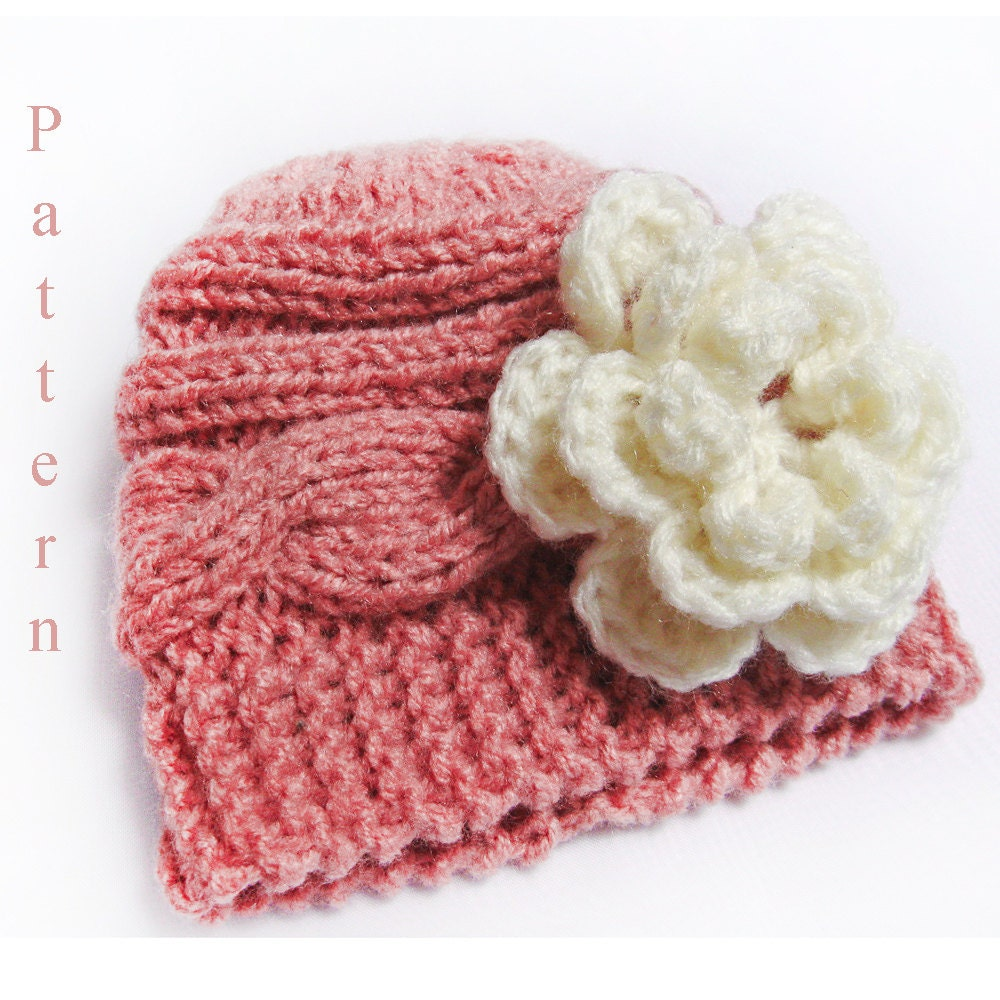 Knitting Pattern Baby Hat Knit Newborn Cable Hat Pattern with