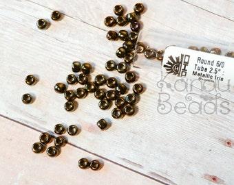 Round 6/0 Toho Glass Seed Bead Metallic Iris Brown