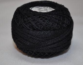 Valdani, 1, Pearl Cotton, Size 12, hand-dyed Black