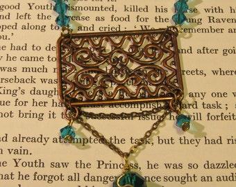 Item 2120 Copper Fancy Sea green swavorski Necklace