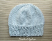 Instant Download Knitting Pattern #167 Blue Hat with Traveling Cables for a Lady