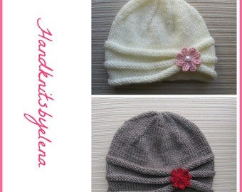 Knitting Pattern #161 Rolled Brim Hat with a Flower in Three Sizes
