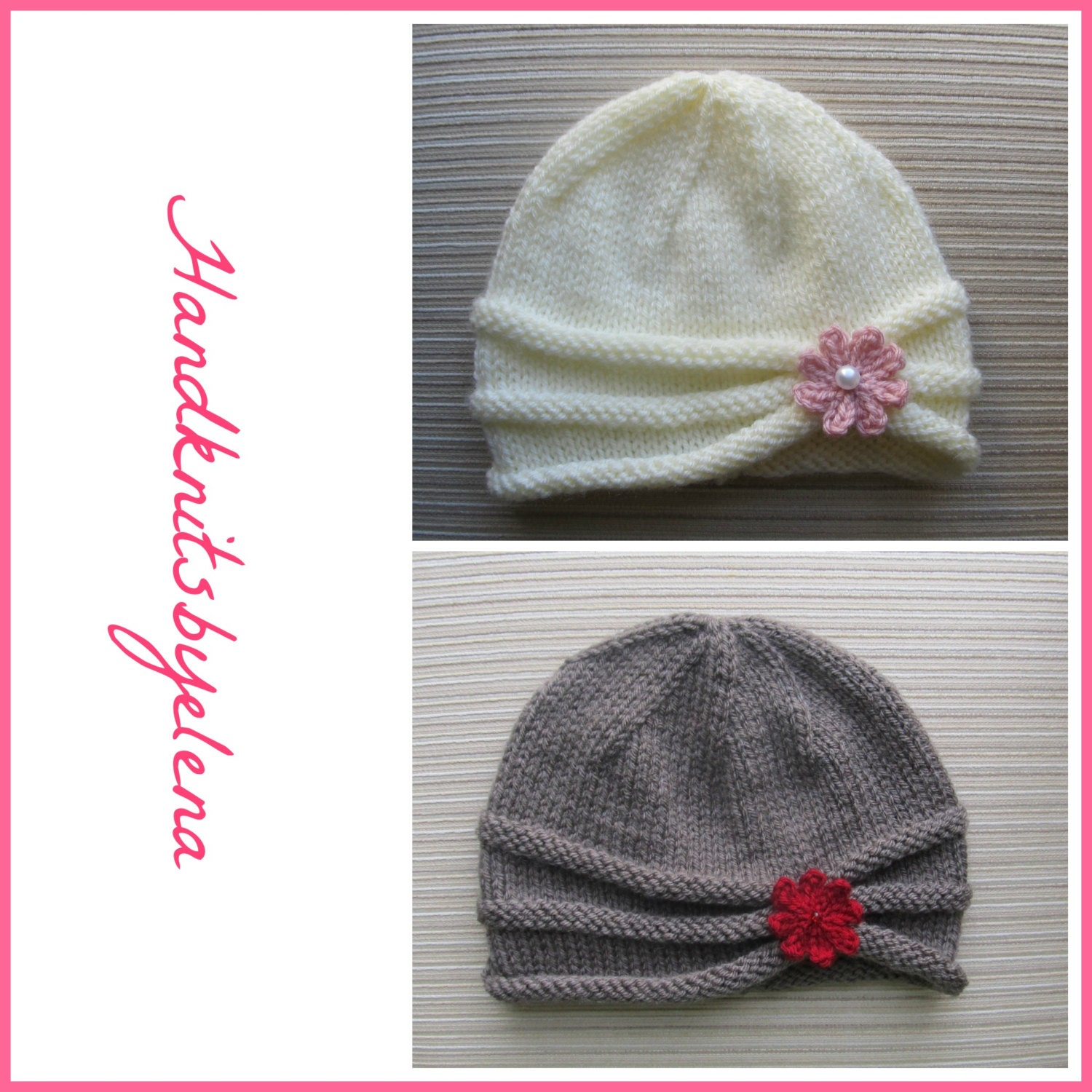 Knitting Pattern 161 Rolled Brim Hat With A Flower In Three