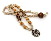 Celtic Knot Hemp Necklace with Etched Agate & Wood Beads