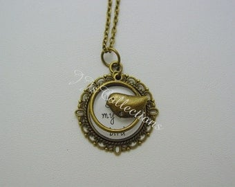 You're My Little Bird Antique Bronze Necklace