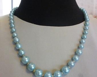 Vintage Seafoam Aqua Faux Pearl Necklace