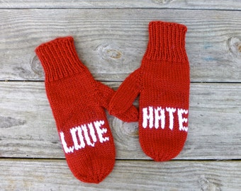 Red Love vs. Hate Mittens, Unique Mittens, Hand Knit Mittens, Red Mittens