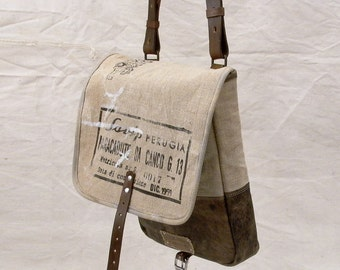 Small Canvas Messenger Bag, Pouch, Recycled Leather Canvas, Crossbody Bag, Canvas Bag, Unisex Bag / Upcycled & Handmade in GERMANY - 2147