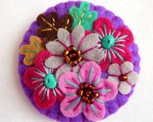FB076 -  Japanese Art Inspired Handmade Mini Felt Brooch - Purple - Made to order