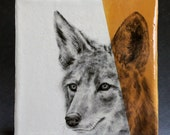Hand Painted Coyote Portrait Wall Tile Deep Yellow