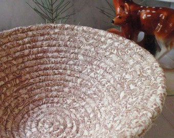 Coiled Fabric Basket - Coffee and Cream - Neutral Colors, Catchall, Handmade by Me