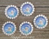 5pc Metal Rhinestone Frozen Inspired Let It Go Cabochon Resin Flat Back Scrap Booking Hair Bow Center Kids Crafts Making DIY 20MM Asst2