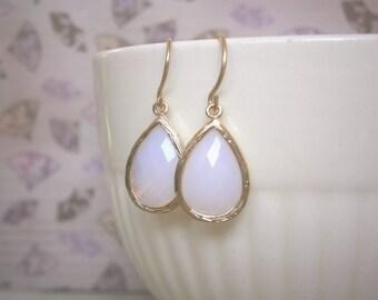 Opal Earrings, Violet Opal Earrings, Teardrop Earrings, Gold Earrings, Discounted Jewelry, Wife Gift, Christmas Gift, Mom Gift
