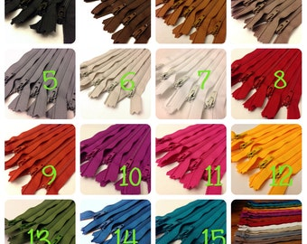 20 inch zippers wholesale, choose color, 5 zippers in the color of your choice, YKK all purpose, dress zippers wholesale