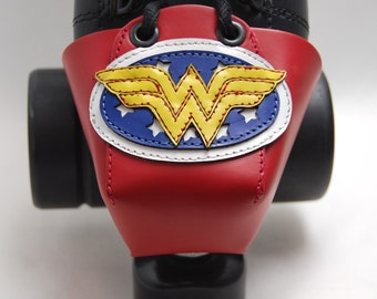 Red Leather Toe Guards with Wonder Woman