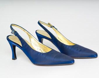 Authentic Vintage 80s St. John Electric Blue Satin Slingback Gem Buckle Shoes Heels Party Shoes MINT (sz 6 B)