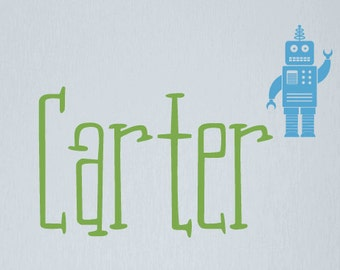 Robot Wall Decal, Boy Name Decals, Robot Bedroom Decor, Personalized Name Decals