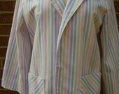 Lightweight Spring Blazer Jacket  Striped in Pastel Colors  Size 1314 Made in USA
