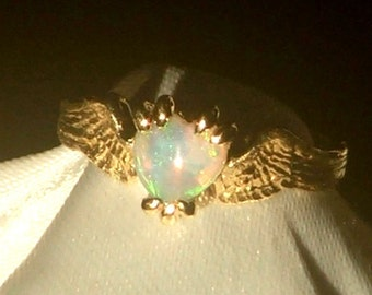 HEARTBEAT- 14K Yellow Gold Angel Fairy Bird Wings and Heart Opal Cabochon Ring Size 6.5 Ready to Ship