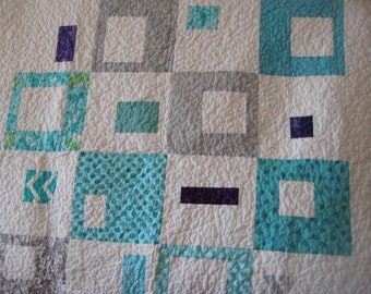 Teal and Silver Chevron with a touch of Grape Baby Quilt