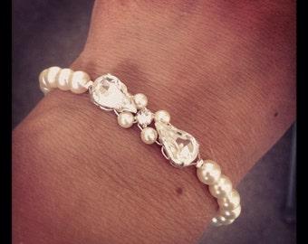 Teardrop rhinestone pear shaped bridal bridesmaid pearl jewelry bridesmaids gifts personalized bridesmaids gifts bridesmaids bracelet