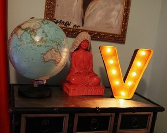 "SALE - Letter Light V - RUSTY - 12"" Vintage Marquee Lights-The Original!"
