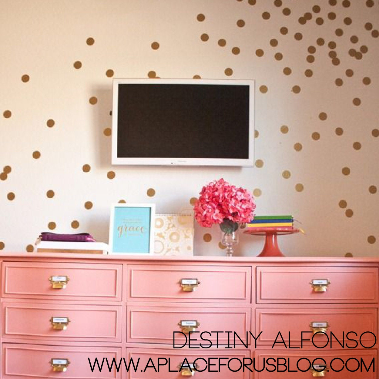 2 confetti polka dot wall decals for Polka dot living room ideas