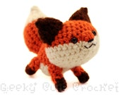 Red Fox Amigurumi Crocheted Plush Toy Cute Stuffed Animal