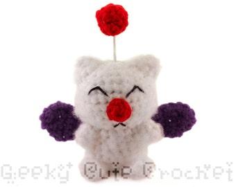 Large Kupo Moogie Amigurumi Crocheted Plush Toy Fantasy
