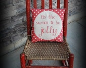 Christmas fun Tis the season to be jolly red faded polka dot pillow retro vintage