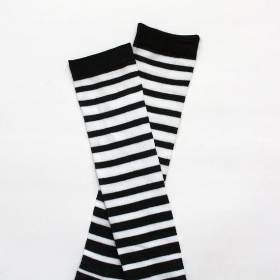 Black and White Striped Baby Leg Warmers FREE SHIPPING