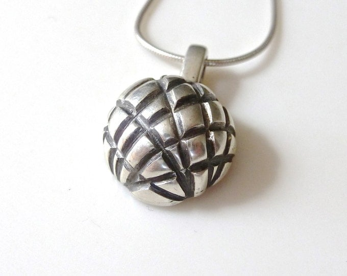 Sterling Silver Pendant // Small Oxidized Globe Necklace
