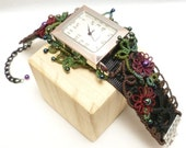Watch with fiber art tatted band of flowers and leaves -The Garden Watch VII J Kohr Couture