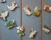Vintage Paper Bird Garland. Made from an old Mr Men book.