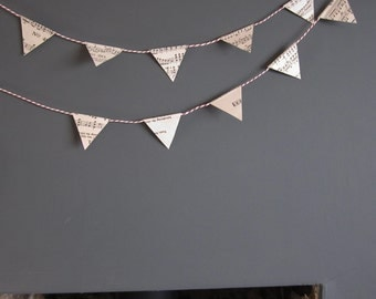 Vintage Paper Bunting. Made from old music sheets.