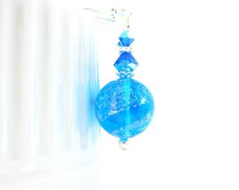 Aqua Blue Murano Earrings, Simple Earrings, Blue Silver Dangle Earrings, Venetian Glass Earrings, Murano Jewelry - Sparkling Water