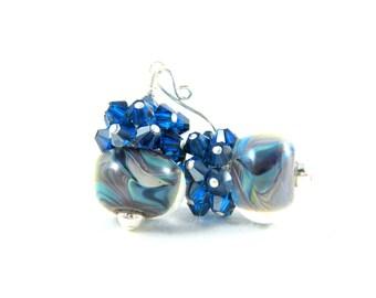 Blue Gray & Teal Earrings, Navy Blue Crystal Earrings, Modern Earrings, Boro Lampwork Earrings, Art Glass Jewelry, Cluster Earrings - Storm