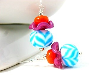 Chevron Earrings, Geometric Jewelry, Blue Pink Orange Earrings, Lampwork Earrings, Colorful Funky Earrings, Bright Color Earrings Undulating