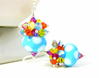 Fun Earrings, Polka Dot Earrings, Colorful Crystal Earrings, Spring Earrings, Lampwork Earrings, Tropical Blue Yellow Pink Orange - Confetti