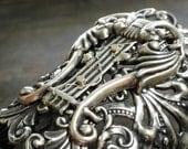 Celtic Jewelry Wide Silver Bracelet Statement Cuff Lyre Harp