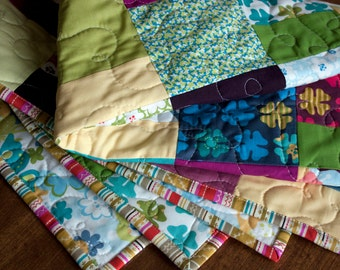 baby quilt or wall hanging // modern quilt in just wing it fabrics // READY TO SHIP