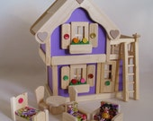 Wooden Dollhouse, Purple Doll House, Natural Wood Furniture, Waldorf, Handmade toy, Kids Easter gift, Jacobs Wooden Toys 'LAVENDER DREAM'