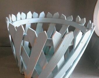 Vintage Robin's Egg Blue Wooden Picket Planter Basket ~~ Shabby chic Cottage