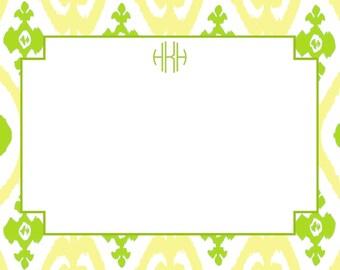 Lemon Lime Ikat Personalized Notecard or Invitation Set