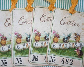 Easter ticket Tags, Chicks and Eggs, set of 4