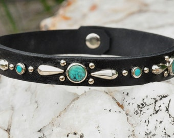 Leather Bracelet or Double Wrap Bracelet with Real Turquoise and Silver Petal Studs